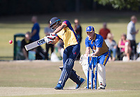 Ravi Bopara of Essex launches over the top during Upminster CC vs Essex CCC, Benefit Match Cricket at Upminster Park on 8th September 2019