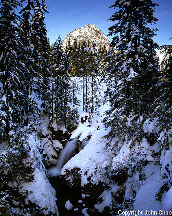Wintry Fall In The Wall Falls & Guye Peak, Snoqualmie Pass, Washington State.