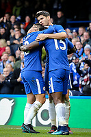 Alvaro Morata of Chelsea celebrates scoring his goal 2 1 during the Premier League match between Chelsea and Newcastle United at Stamford Bridge, London, England on 2 December 2017. Photo by David Horn.