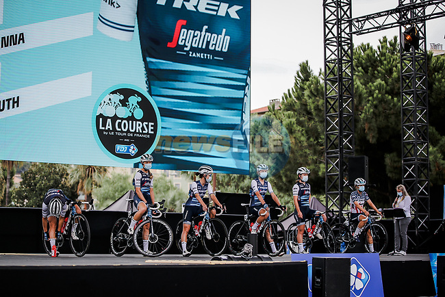 Trek-Segafredo at the presentation before the start of La Course By Le Tour de France 2020, running 96km from Nice to Nice, France. 29th August 2020.<br /> Picture: ASO/Thomas Maheux   Cyclefile<br /> All photos usage must carry mandatory copyright credit (© Cyclefile   ASO/Thomas Maheux)