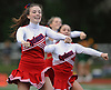 Lauren Berry and the South Side varsity cheerleaders entertain the crown during halftime of a varsity football game against Lynbrook at South Side High School in Rockville Centre on Thursday, Sept. 27, 2018.