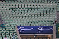 SÃO PAULO,SP, 03.03.2816 - PALMEIRAS-ROSARIO CENTRAL - Placas de publicidade com o nome do patrocidador Allianz que foram retiradas das entradas de torcedores para a partida contra o Rosario Central, jogo válido pela segunda rodada do grupo 2 da Copa Libertadores da América, no estádio Allianz Parque em São Paulo, nesta quinta-feira, 03.  (Foto: Levi Bianco / Brazil Photo Press)