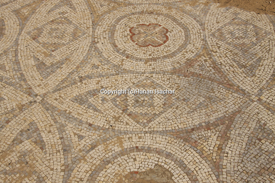 Israel, Northern Negev, remains from the Byzantine period at Bitronot Ruhama in Besor region, a mosaic