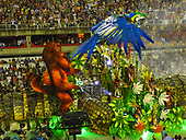Imperatriz Leopolinense Samba School, Carnival, Rio de Janeiro, Brazil, 26th February 2017. The Giant Caiman float, representing the flora and fauna of the forest, with a huge macaw and monkey.