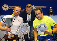 Rotterdam, Netherlands, December 17, 2017, Topsportcentrum, Ned. Loterij NK Tennis, Final man's single wheelchair: Winner Maikel Scheffers (NED) (L) coach Dennis Schoorel and runner up Tom Egberink (NED)<br /> Photo: Tennisimages/Henk Koster