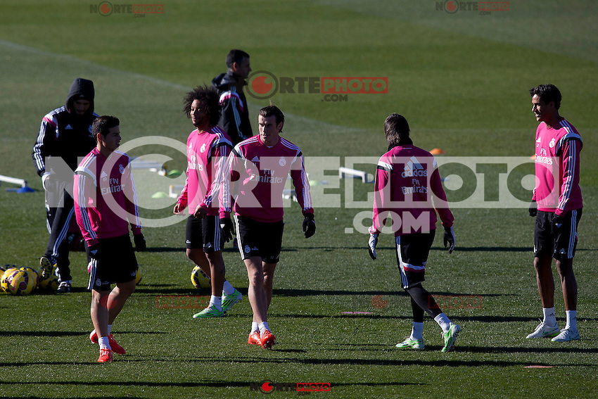James, Kehedira, Coentrao and Bale during a sesion training at Real Madrid City in Madrid. January 23, 2015. (ALTERPHOTOS/Caro Marin) /NortePhoto<br />