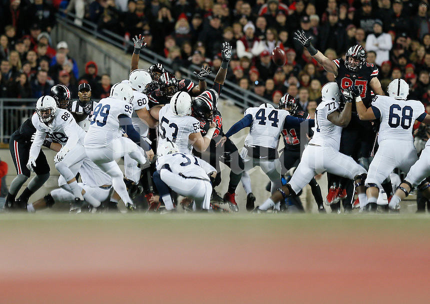 Penn State Nittany Lions place kicker Joey Julius (99) scores a field goal in the first quarter of the college football game between the Ohio State Buckeyes and the Penn State Nittany Lions at Ohio Stadium in Columbus, Saturday evening, October 17, 2015. As of half time the Ohio State Buckeyes led the Penn State Nittany Lions 21 - 3. (The Columbus Dispatch / Eamon Queeney)