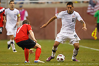 7 June 2011: USA Men's National Team forward Clint Dempsey (8) dribbles the ball at Canada midfielder Terry Dunfield (7) in the second half during the CONCACAF soccer match between USA and Canada at Ford Field Detroit, Michigan.
