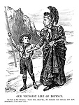 """Our Youngest Line of Defence. Boy Scot (to Mrs. Britannia). """"Fear not, Gran'ma; no danger can befall you now. Remember, I am with you!""""."""