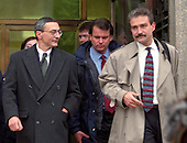 White House Deputy Chief of Staff for Operations John Podesta, left, departs the United States District Court with his attorney Peter Kadzik of Dickstein, Shapiro, Morin & Oshinsky, right, after his appearance before the Grand Jury investigating the Monica Lewinsky affair in Washington, DC on February 5, 1998.<br /> Credit: Ron Sachs / CNP<br /> (RESTRICTION: NO New York or New Jersey Newspapers or newspapers within a 75 mile radius of New York City)