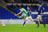 Ryan Loft of Carlisle United has a shot during the FA Cup third round match between Cardiff City and Carlisle United at the Cardiff City Stadium in Cardiff, Wales, UK. Saturday 04 January 2020