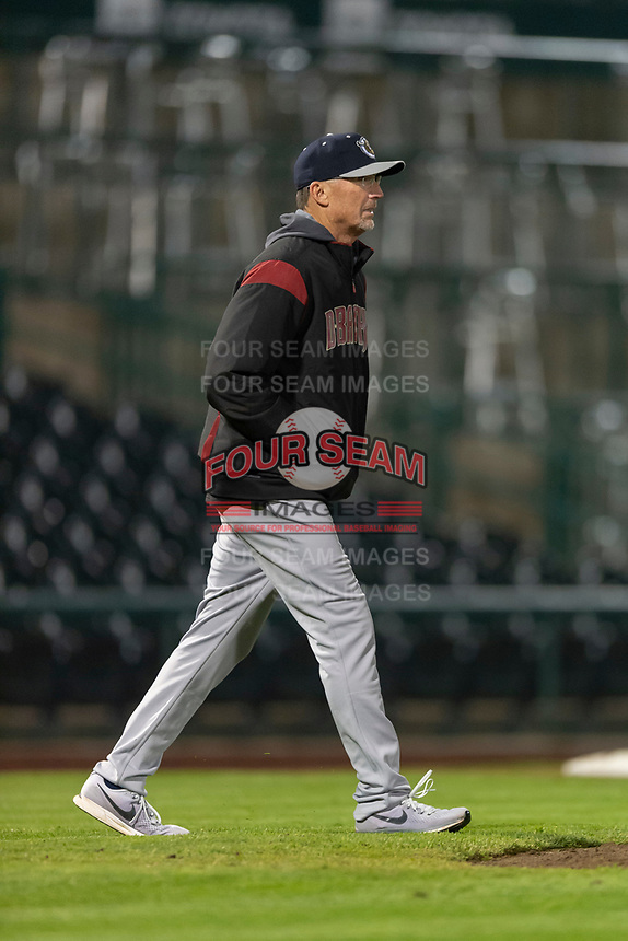 Kane County Cougars pitching coach Mike Parrot (21) during a Midwest League game against the Fort Wayne TinCaps at Parkview Field on April 30, 2019 in Fort Wayne, Indiana. Kane County defeated Fort Wayne 7-4. (Zachary Lucy/Four Seam Images)