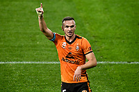 29th July 2020; Bankwest Stadium, Parramatta, New South Wales, Australia; A League Football, Melbourne Victory versus Brisbane Roar; Tom Aldred of Brisbane Roar appeals for a decision