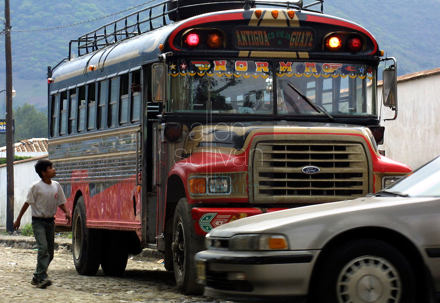 An intercity bus, sometimes called a chicken bus, in Antigua, Guatemala.