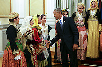 Pictured: US President Barack Obama greets people in traditional greek costumes. Tuesday 15 November 2016<br /> Re: US President Barack Obama attends official stat banquet at the Presidential Mansion during his visit to Athens Greece