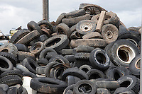Tires for recycling, Wyoming, USA