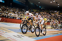 Madison World Champions Roger Kluge (DEU/Lotto-Soudal) & Theo Reinhardt (DEU) with a relay<br /> <br /> zesdaagse Gent 2019 - 2019 Ghent 6 (BEL)<br /> day 2<br /> <br /> ©kramon
