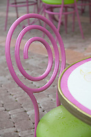 Pink and green bistro chair, West Palm Beach, Florida