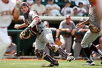 Texas A&M Aggies catcher Troy Stein #6 throws to first on a bunt attempt during the NCAA baseball game against the Texas Longhorns on April 29, 2012 at UFCU Disch-Falk Field in Austin, Texas. The Longhorns beat the Aggies 2-1 in the last ever regular season game scheduled for the long time rivals. (Andrew Woolley / Four Seam Images)