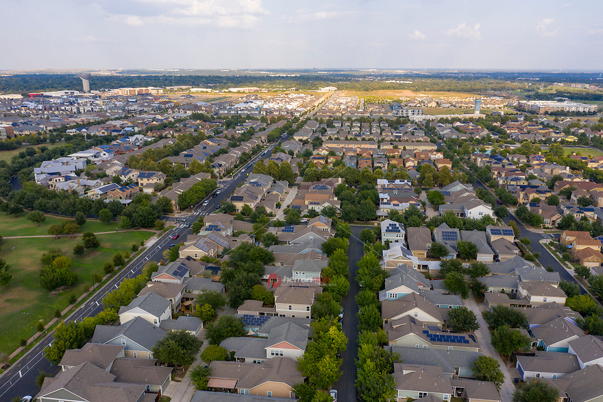 Aerial view of homes in Austin's Mueller Master Community, a sustainable, transit-oriented community.