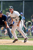 June 12, 2010:  Lindenhurst first baseman Jon McGibbon (7) in the field vs Valley Central during the NYSPHAA Class-AA State Championship semi-final game at Binghamton University in Binghamton, NY.  McGibbon was seleced in the 29th round by the Seattle Mariners of the 2010 MLB draft but chose to attend Clemson University to play for the Bulldogs.  Photo By Mike Janes/Four Seam Images
