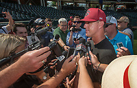 NWA Democrat-Gazette/BEN GOFF @NWABENGOFF<br /> Mark Kingston, South Carolina head coach, talks to the press Friday, June 8, 2018, during practice for the NCAA Fayetteville Super Regional at Baum Stadium.
