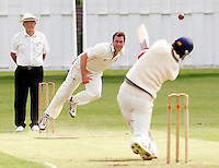 Martin Tucker of Hornsey bowls to Hammad Ul Hassan during the Middlesex County League Division Two game between Hornsey and Highgate at Tivoli Road, Crouch End on Saturday Aug 13, 2011