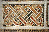 Picture of a Roman mosaics design depicting a geometric plant design, from the ancient Roman city of Thysdrus. 3rd century AD, House in Jiliani Guirat area. El Djem Archaeological Museum, El Djem, Tunisia.