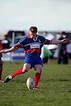 L. Easton kicks for goal.  Counties Manukau Premier Club Rugby, Ardmore Marist vs Manurewa played at Bruce Pulman Park, Papakura on the 10th of June 2006. Ardmore Maris won 18 - 11.