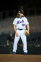 Scottsdale Scorpions relief pitcher Matt Blackham (19), of the New York Mets organization, looks in for the sign during an Arizona Fall League game against the Mesa Solar Sox on October 9, 2018 at Scottsdale Stadium in Scottsdale, Arizona. The Solar Sox defeated the Scorpions 4-3. (Zachary Lucy/Four Seam Images)