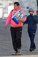 Pictured: A man clutches a pack of toilet tissues in Swansea, Wales, UK. Tuesday 24 March 2020<br /> Re: Covid-19 Coronavirus pandemic, UK.
