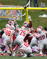 Ohio State Buckeyes place kicker Jack Willoughby (98) scores the first three points for the Buckeyes   in the first half of an NCAA football game between the Ohio State Buckeyes and the Indiana Hoosiers at Memorial Stadium in Bloomington, Indiana, on Saturday, October 3, 2015. (Columbus Dispatch photo by Fred Squillante)