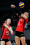 25.08.2018, …VB Arena, Bremen<br />Volleyball, LŠnderspiel / Laenderspiel, Deutschland vs. Niederlande<br /><br />Jennifer Geerties (#6 GER), Louisa Lippmann (#11 GER)<br /><br />  Foto &copy; nordphoto / Kurth