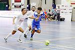 2015-10-30/ Voetbal / Seizoen 2015-2016/ Malle Beerse- Futsal Topsport Antwerpen / foto mpics.be / Achahbar Yassine met een uitbraak voor Antwerpen.Illyas El Haoul (Malle) met een poging om hem te stoppen.