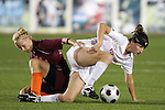 07 November 2008: Virginia Tech's Kelsey Billups (left) and Virginia's Lauren Alwine (right). The University of Virginia and Virginia Tech played to a 1-1 tie after 2 overtimes at WakeMed Stadium at WakeMed Soccer Park in Cary, NC in a women's ACC tournament semifinal game.  Virginia Tech advanced to the final on penalty kicks, 2-1.