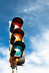 Green color on the traffic light with a beautiful blue sky in background in Santa Fe, New Mexico.
