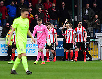 Lincoln City's Terry Hawkridge is shown a yellow card by referee Ben Toner<br /> <br /> Photographer Andrew Vaughan/CameraSport<br /> <br /> Buildbase FA Trophy Semi Final Second Leg - Lincoln City v York City - Saturday 18th March 2017 - Sincil Bank - Lincoln<br />  <br /> World Copyright &copy; 2017 CameraSport. All rights reserved. 43 Linden Ave. Countesthorpe. Leicester. England. LE8 5PG - Tel: +44 (0) 116 277 4147 - admin@camerasport.com - www.camerasport.com