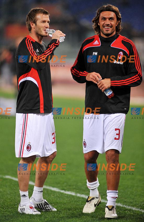 David Beckham e Paolo Maldini (MIlan)<br /> Roma 11/1/2009 Stadio &quot;Olimpico&quot; <br /> Campionato Italiano Serie A 2008/2009 <br /> Roma Milan (2-2)<br /> Foto Massimo Oliva/Insidefoto