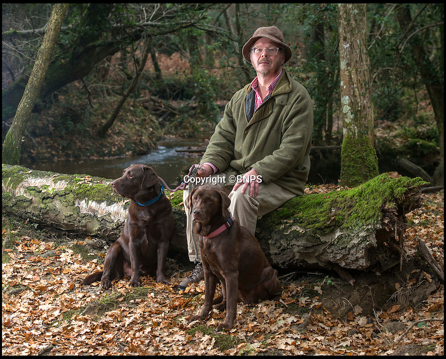 BNPS.co.uk (01202 558833)<br /> Pic: TomWren/BNPS<br /> <br /> Peter Studzinski, 53, with his dogs Lola and Tom felt 'threatened' during his encounter with a Forestry Commission keeper.<br /> <br /> The Forestry Commission has been 'snooping' on mushroom pickers and using 'sinister' stop and search tactics in a controversial crackdown on foraging, it has emerged.<br /> <br /> A dossier kept by the government organisation reveals foragers in the New Forest have been spied upon by rangers before being 'interrogated' and having their bags searched.<br /> <br /> In some instances, pickers have been asked for their name, address and car registration number. <br /> <br /> Anyone found carrying more than 1.5kg of mushrooms has had the excess confiscated and destroyed.