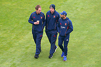 Tom Westley (L), Daniel Lawrence and Ravi Bopara of Essex after taking a look at the pitch during Yorkshire CCC vs Essex CCC, Specsavers County Championship Division 1 Cricket at Emerald Headingley Cricket Ground on 13th April 2018