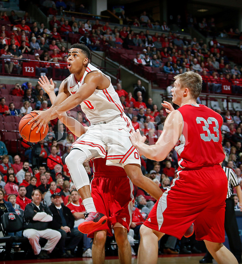 Ohio State Buckeyes guard D'Angelo Russell (0) goes up for a lay up against Sacred Heart Pioneers during the 1st half of their NCAA game at Value City Arena in Columbus, Ohio on November 23, 2014.  (Dispatch photo by Kyle Robertson)