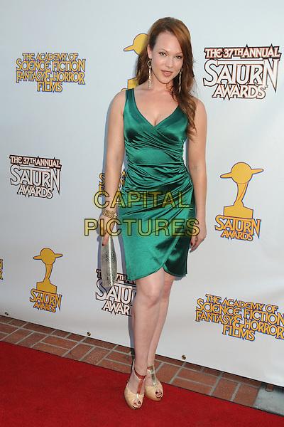 Erin Cummings.37th Annual Saturn Awards held at The Castaway, Burbank, California, USA, .23 June 2011..full length green dress silk satin .CAP/ADM/BP.©Byron Purvis/AdMedia/Capital Pictures.
