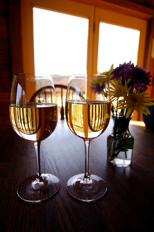 Naked Mountain Vineyard and Winery in Markham Virginia has a wonderful selection of chardonnay's. Here in the tasting room is a glass of the 2004 blue label and 2003 black label chardonnayÕs.
