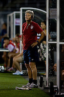 USWNT head coach Pia Sundhage watches her team at Rentschler Field in East Hartford, Connecticut.  The USWNT defeated Sweden, 3-0.