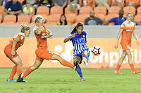 Houston, TX - Saturday July 22, 2017: Janine Van Wyk and Margaret Purce during a regular season National Women's Soccer League (NWSL) match between the Houston Dash and the Boston Breakers at BBVA Compass Stadium.