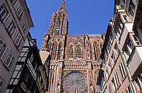 France,Alsace,Europe,Departement 67,Bas-Rhin,Strasbourg,Notre Dame Cathedral,View from Merciere street