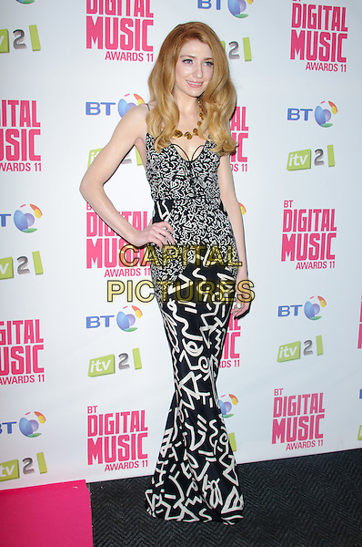 Nicola Roberts.BT Digital Music Awards held at the Roundhouse, Chalk Farm, London, England..September 29th 2011.full length maxi dress black white grey gray print hand on hip .CAP/CJ.©Chris Joseph/Capital Pictures.