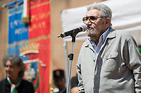 """Gianfranco Iacobacci (Antifascist Partizan. Member of the Partigiani: the Italian Resistance during WWII).<br /> <br /> Rome, 25/04/2018. Today, to mark the 73rd Anniversary of the Italian Liberation from nazi-fascism ('Liberazione'), ANED Roma & ANPI Roma (National Association of Italian Partizans) held a march ('Corteo') from Garbatella to Piazzale Ostiense where a rally took place attended by Partizans, Veterans and politicians – including the Mayor of Rome and the President of Lazio's Region. FOR THE FULL CAPTIONS PLEASE CHECK """"Photo Stories - 2010 to Today"""" 25.04.2018."""
