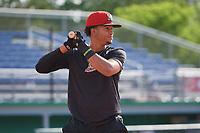 Batavia Muckdogs Gerardo Nunez (2) bats during practice on June 12, 2019 at Dwyer Stadium in Batavia, New York.  (Mike Janes/Four Seam Images)