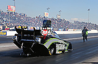 Feb. 22, 2013; Chandler, AZ, USA; NHRA crew member for funny car driver Alexis DeJoria during qualifying for the Arizona Nationals at Firebird International Raceway. Mandatory Credit: Mark J. Rebilas-